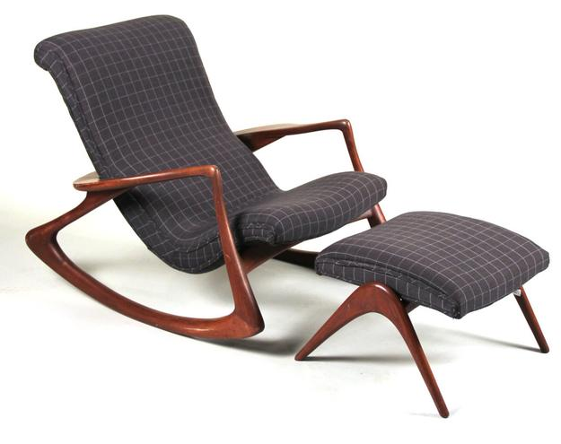 Vladimir Kagan's Plaid-Upholstered Walnut Rocking Chair and Ottoman