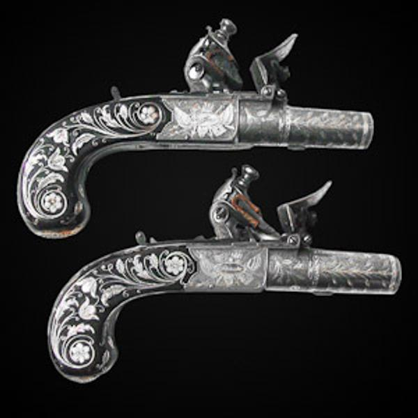 Pair of Flintlock Pocket Pistols Inlaid with Gold and Silver by John George Lacy, London, circa 1810-1814