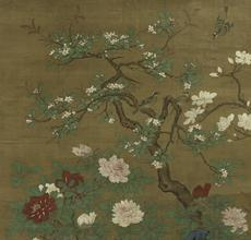 """Silver Pheasants under Spring Blossoms"" Hanging scroll, ink and color on silk 291.3 x 144.9 cm.  (114 ¾ x 57 in.)"