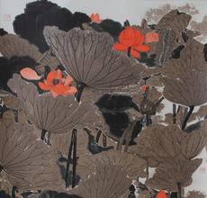 "Mansheng Wang (b.  1962) ""The Red Lotus"" 2016 Hanging scroll, ink, walnut ink and color on paper 71 x 27 1/2 in."
