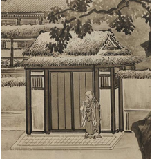 Kano Sansetsu, A Visit to Li Ning's Secluded Dwelling and Wang Ziyou Visiting Dai Andao (detail), Japanese, Edo period, mid-17th century.  Pair of six-panel folding screens; ink and gold on paper.  Promised gift of Robert S.  and Betsy G.  Feinberg, TL41799.12.