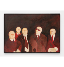 Katie van Scherpenberg b.  1940 The Executives, 1976 Signed & dated on reverse Tempera and oil on canvas 98 x 143.5 cms 38 5/8 x 56 1/2 inches
