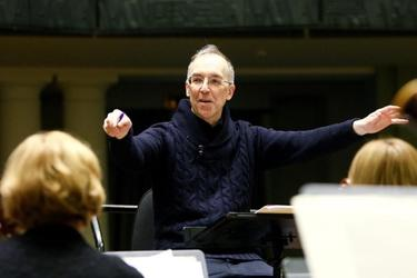Keith Burstein rehearsing Symphony No 1 'Elixir' with the Kaunas City Symphony Orchestra in Kaunas Lithuania, 2012