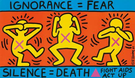 Keith Haring, Act Up / Ignorance = Fear.  1989.  (est.  $1,200-$1,500).