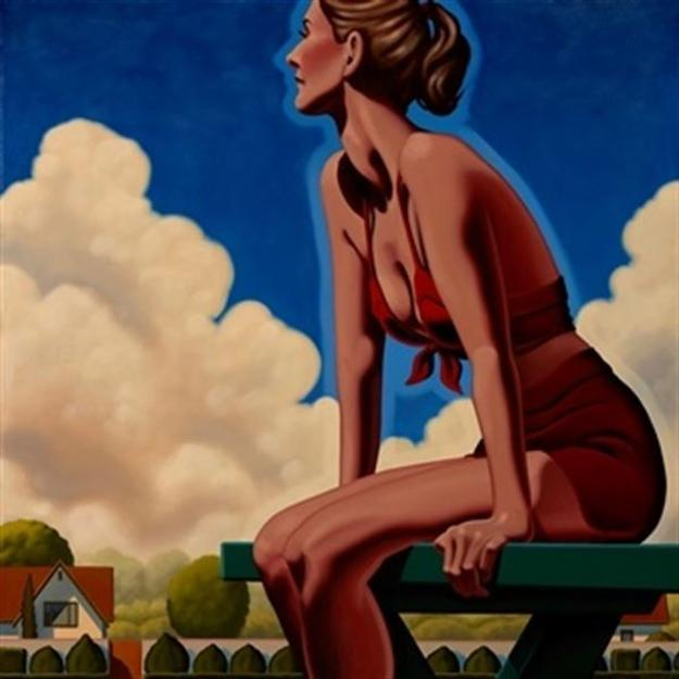 Kenton Nelson, Pine Table, 2017.  Oil on Canvas, 36 x 26 inches