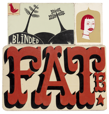 Margaret Kilgallen (American, 1967-2001), Untitled (Blinded Fate), 1998, Acrylic on wood in four parts, 41 1/2 x 39 inches.  Est.  $100,000-150,000.