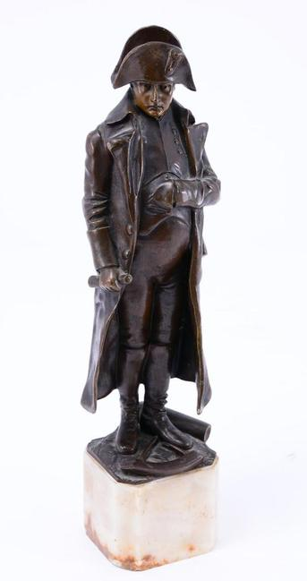 Full-figure bronze sculpture of Napoleon by Ernst L.  Kirchner (German, 1880-1938).