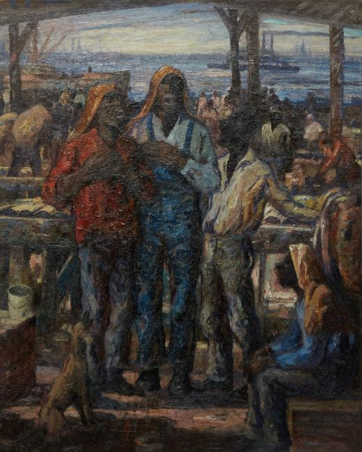 Original oil painting by iconic Louisiana artist Knute Heldner (Swedish/New Orleans, 1875-1952) titled Singing by the Mississippi River, 39 ¾ inches by 31 ½ inches (est.  $25,000-$35,000).