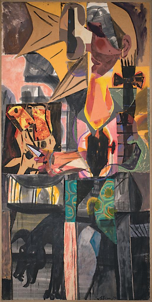 "Rico Lebrun, ""Mexican Meat Stall"", 1954, collage, mixed media painting, 96 x 47 inches"