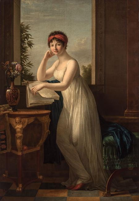 Marie-Victoire Lemoine (French, 1754-1820), Madame Leclerc, nee Pauline Bonaparte, circa 1798-99, Signed, Oil on canvas, 77 x 54 1/8 inches.  Est.  $40,000-70,000.