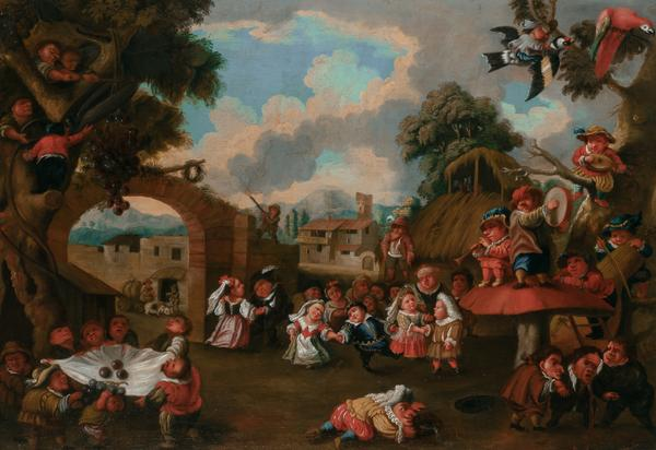 Enrico Albrici (Italian, 1714-1775), Dwarfs Celebrating a Festival, Oil on canvas, 24 3/4 x 36 7/8 inches.  The Collection of Ambassador and Mrs.  Alfred Hoffman, North Palm Beach, FL.  Est.  $10,000-20,000.  Lot 69.