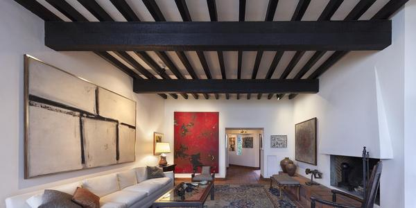 """Franz Kline's """"Painting No.  11,"""" and Clyfford Still's """"PH-338 (1949-No.  2)"""" in the Lang Residence.  Spike Mafford/Zocalo Studios"""