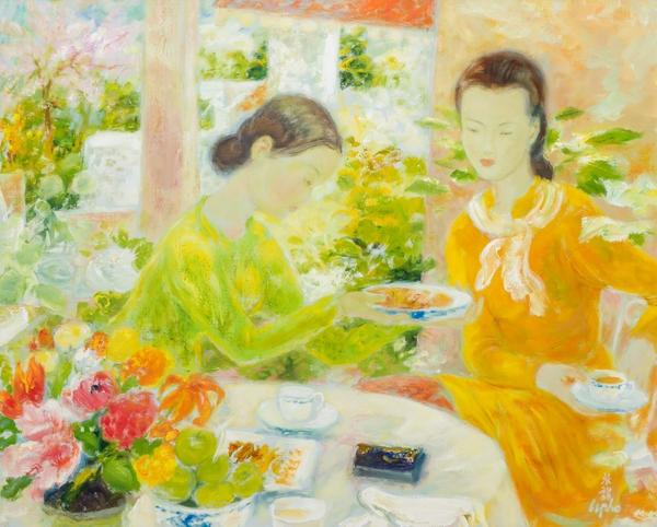 LE PHO, French/Vietnamese (1907-2001), 'Le Thé' (Tea Time), oil on canvas, signed, 32 x 39 1/2 inches, Estimate $40,000-60,000 Sold for US$100,000
