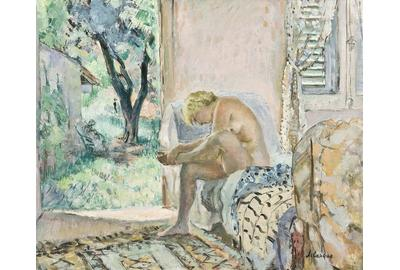 HENRI LEBASQUE (French, 1865–1937) Nu Assise sur canapé pres de la fenetre, 1934-35 Oil on canvas 21 5/16 x 25 5/8 in.  (54.1 x 65.1 cm) Signed lower right: Lebasque