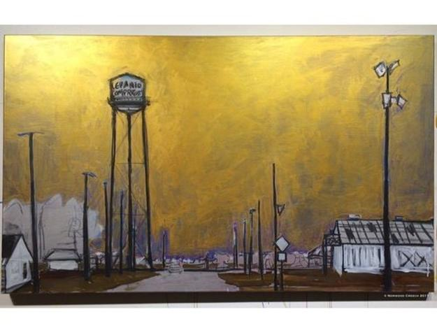 "Lepanto Compress Water Tower - Gilded Sky, Lepanto, Poinsett County, Arkansas, charcoal, tinted gesso, metallic gesso on linen, 36"" x 60"", 2017"