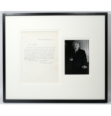 The letter is handsomely matted and framed, with a photo of Einstein.  It's also one of the few letters Einstein hand-wrote in English.  German was his preferred tongue.