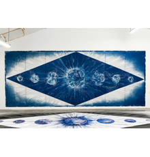 Studio view of Lia Halloran's The Sun Burns My Eyes Like Moons (2021) in progress.  Cyanotype on paper from painted negative, acrylic and ink, 119 x 300 in.