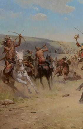 Z.S.  Liang (1953- ), The Holy Rattle (Elkwater Lake Battle, 1864), 2015, oil on linen, 40 x 60 inches, Estimate: $80,000-$120,000