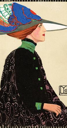 Maria Likarz (1893–1971).  Fashion, Wiener Werkstätte Postcard 557, 1911.  Chromolithograph.  Leonard A.  Lauder Collection.  Neue Galerie New York