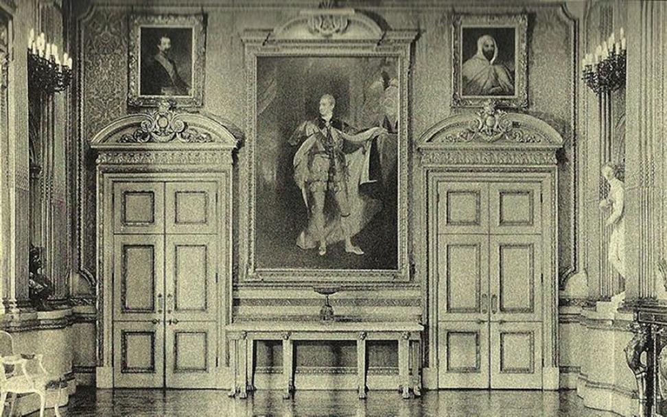 This portrait (upper left) is shown hanging opposite the portrait of Emir Abd-el-Kadr (a part of the same commission) in the Marquess' ballroom.