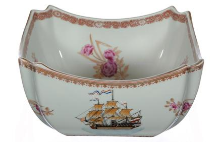 This antique Chinese Export porcelain bowl with a lovely floral design and showing a highly detailed ship will be sold at auction August 29th.