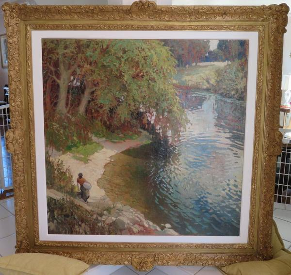 Original oil on canvas figural landscape painting by the Latvian-born German painter Johann Valters, better known as Walter Kurau (1869-1932), framed (est.  $40,000-$55,000).