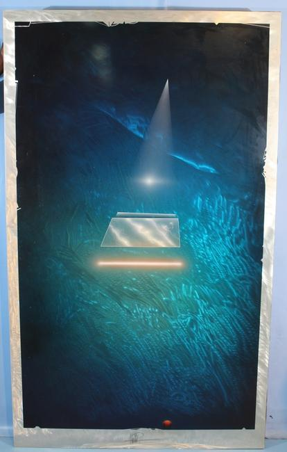 "Original artwork by Andreas Nottebohm (German-American, b.  1944), the Op Artist, Space Artist and visionary artist, 80 inches by 48 inches, ""1 of 1"" signed original."