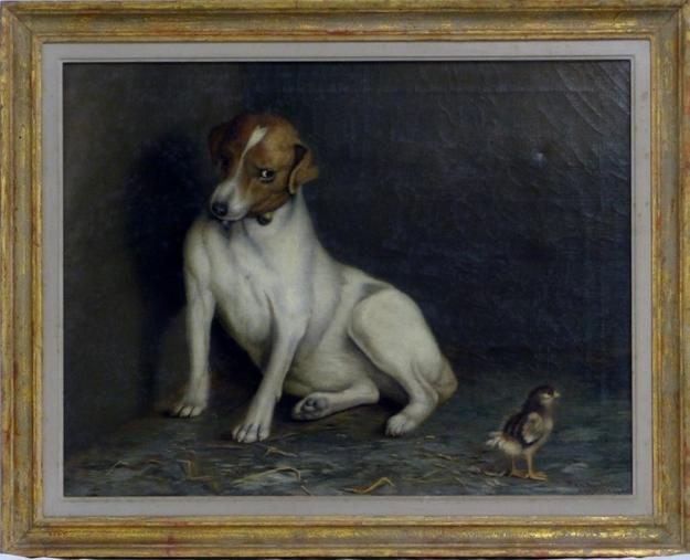 "Framed oil on canvas painting by American artist and renowned ""poultry painter"" Ben Austrian (1870-1921), dated 1906 and titled Shame on You (est.  $8,000-$12,000)."