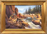 Oil on canvas depiction of California Gold Rush miners by Kerne Erickson, signed lower left and housed in a 34 inch by 46 inch deep gold frame (est.  $2,000-$4,000).