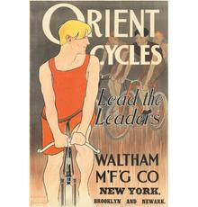 Spectacular lithograph from Edward Penfield (1866-1925), Orient Cycles (ca.  1895), 26 ¼ inches by 40 inches (est.  $15,000-$20,000).