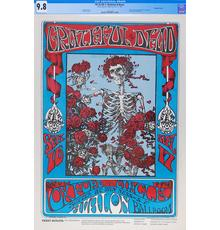 This rare museum quality specimen of the legendary Grateful Dead 'Skeleton and Roses' concert poster was the auction's top lot, soaring to a record $56,400.