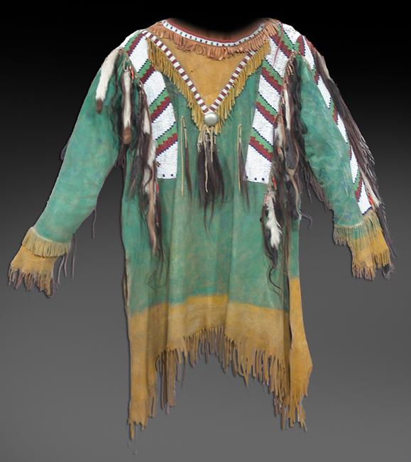Early to mid-1900s Southern Plains war shirt, a museum quality beaded hide example as picturesque as it gets and in very good condition (est.  $20,000-$40,000).