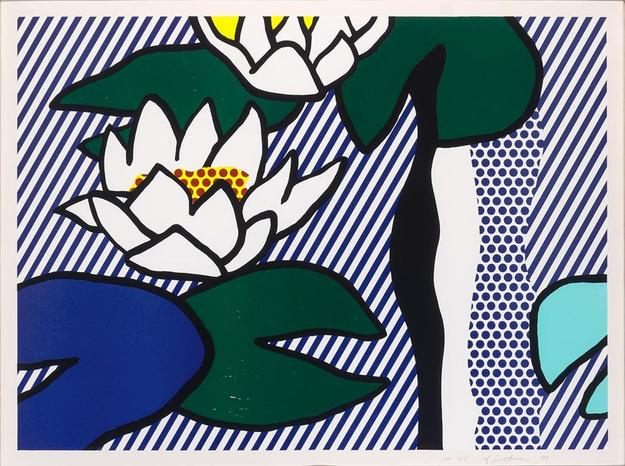 Roy Lichtenstein, Les Nymphéas, Color linocut, woodcut, lithograph and screenprint, 1993, 26 1/4 x 35 7/8 inches.  Est.  $20,000-30,000