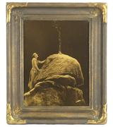 Goldtone photo by the renowned 19th century American photographer E.S.  Curtis (1868-1952), titled Signal Fire to the Mountain Gods, in the original frame (est.  $8,000-$16,000).