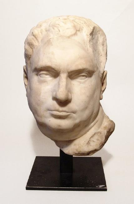 Huge marble portrait bust believed to be the Roman Emperor Vitellius, dating from ancient times to the Renaissance Period, 16 inches tall, beautifully carved (est.  $25,000-$40,000).