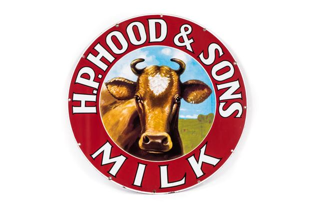 "Single-sided round porcelain sign for H.P.  Hood & Sons Milk with cow graphic, marked ""Burdick Enamel Sign Co., Boston, Mass."", 28.25 inches in diameter."