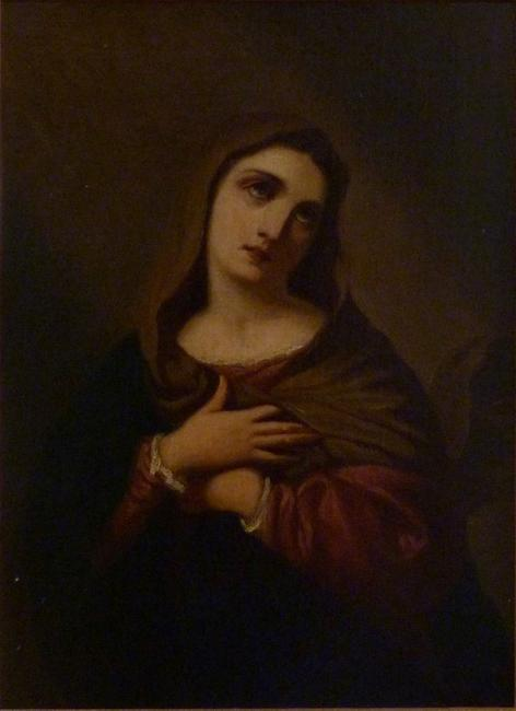 Museum-quality 19th century oil painting of the Madonna, attributed to Giovanni Carnovali (Italian, 1804-1873).