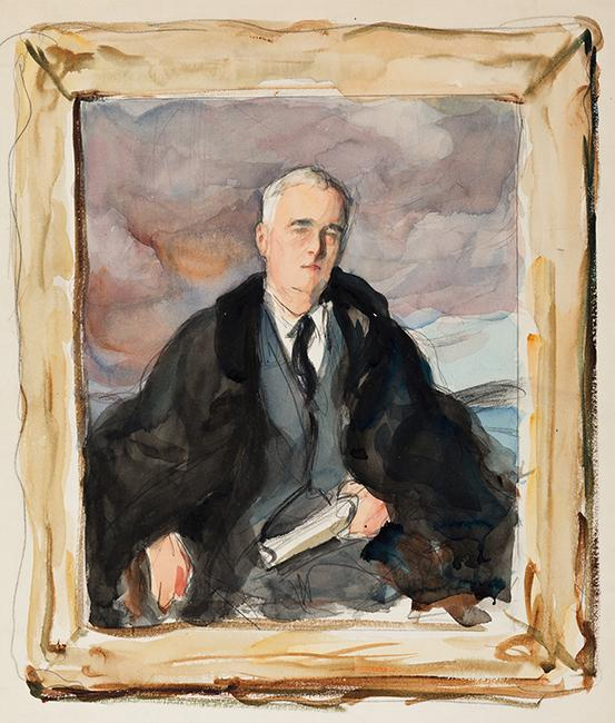 "Elizabeth Shoumatoff, ""Unfinished Portrait"" of Franklin D.  Roosevelt, three watercolor studies, 1945.  Estimate $40,000 to $60,000."