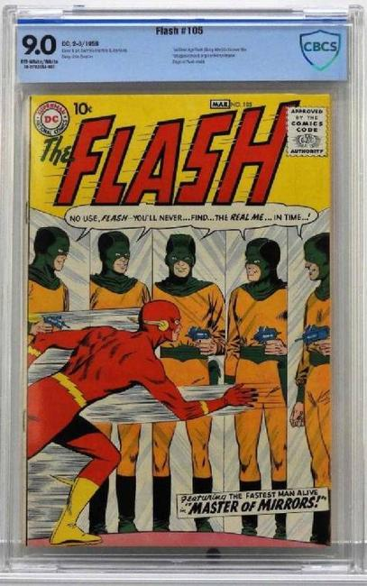 Copy of DC Comics Flash #105 (Feb.-Mar.  1959), featuring the first Silver Age Flash in his own title, plus the first appearance and origin of Mirror Master ($20,000).