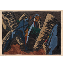 Jacob Lawrence, Cutting Logs, #51, gouache, tempera & watercolor, 1942.  Estimate $250,000 to $350,000.