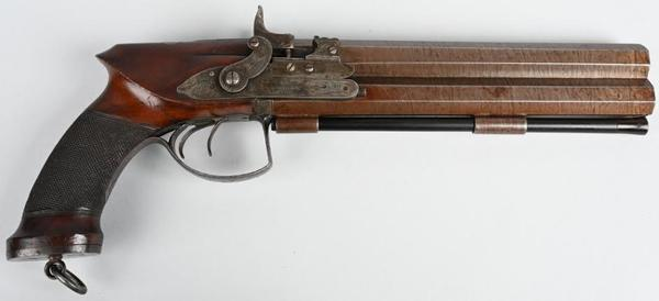 Mid-19th-century Forsyth & Co., London, .65-caliber self-priming double hammer over/under pistol with 9-inch Damascus twist-rifled full octagon barrels.  Beautiful condition with fine English engraving.  Estimate $4,500-$6,500