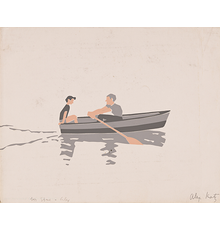 Alex Katz, Rowboat, oil, color pencil and pencil on paper, 1966.  From the Collection of Stephen Poleskie, Chiron Press, New York.  Estimate $50,000 to $80,000.