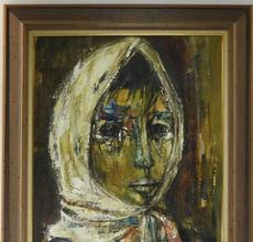 Oil on canvas figurative portrait painting of a young girl by Israeli social realist Ruth Schloss (1922-2013), framed (est.  $1,500-$2,500),