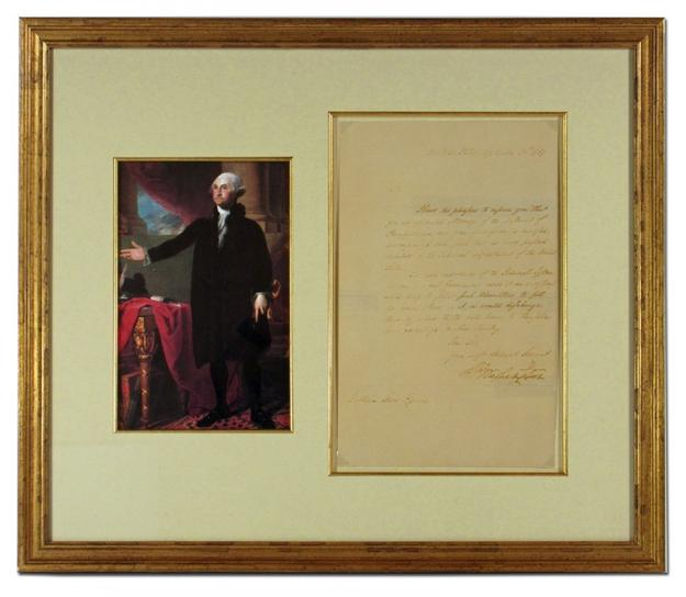 Letter signed by George Washington, dated Sept.  30, 1789 (est.  $10,000-$12,000).