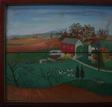 Lovely pastoral painting by David Ellinger (1913-2003), titled Long Lane Farm (est.  $1,000-$1,500)