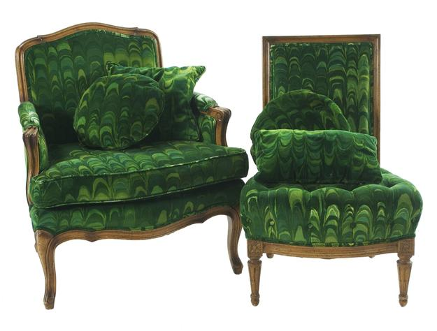 Lot 259: A French Provincial Style Bergere and Slipper Chair, 20th Century.
