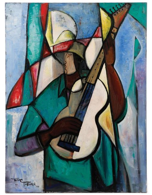 Original painting by the renowned African-American artist William Tolliver (1951-2000), titled Guitar Player in Green.