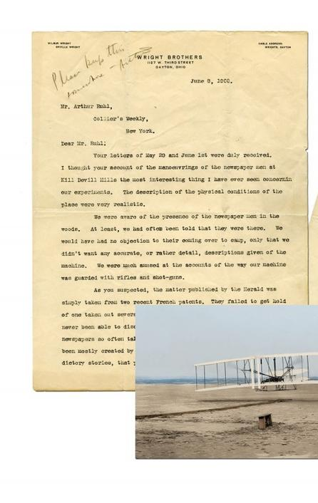 Letter written in 1908 by aviation pioneer Orville Wright to Arthur Ruhl, a writer with Collier's magazine, in which he waxes about flying , and how easy it is to do.