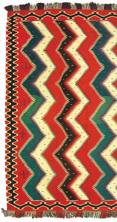This Navajo rug/weaving Germantown blanket, made around 1890, is in excellent condition and measures 56 inches by 91 inches (est.  $15,000-$30,000).