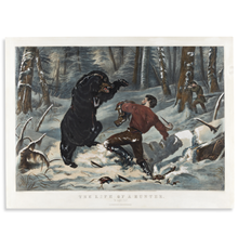 Currier & Ives, after A.F.  Tait, Life of a Hunter, 1861.  Estimate $15,000 to $20,000.